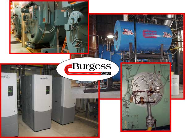 collage of photos of bolier systems installed and repaird by Burgess Mechanical in Indianapolis