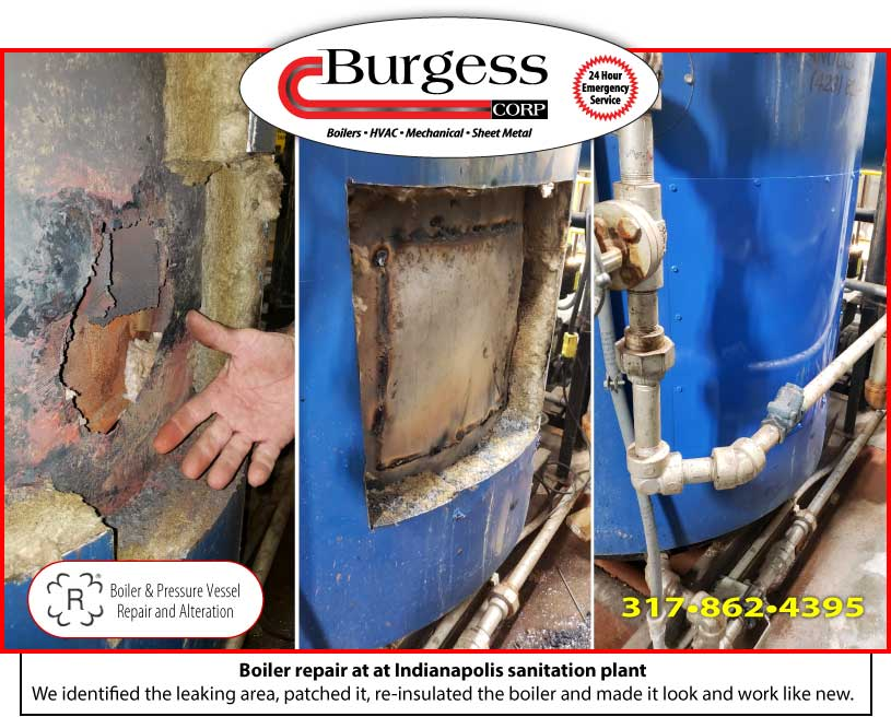 Boiler patching repair done by Burgess Mechanical at an Indianapolis sanitation plant
