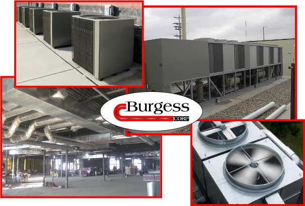 Collage of photos of HVAC systems installed and repaired by Burgess Mechanical in Indianapolis