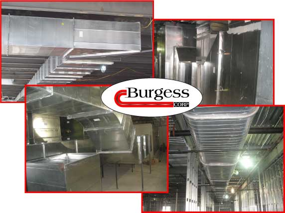Collage of photos of custom sheet metal ductwork and air ducts manufactured and installed by Burgess Mechanical in Indianapolis